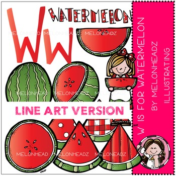 W is for watermelon by Melonheadz LINE ART