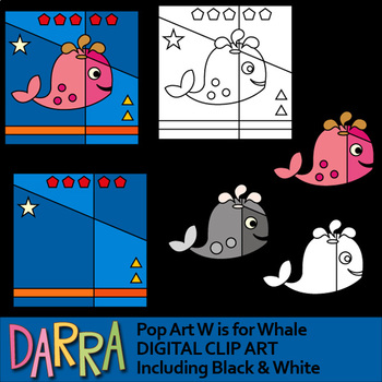 W is for whale clip art - clipart for math and literacy activities