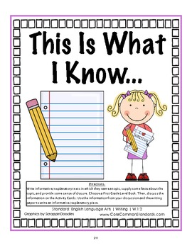 W.1.2 First Grade Common Core Worksheets, Activity, and Poster