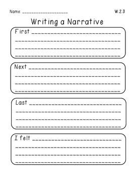 W.2.3 Narrative Writing Graphic Organizer
