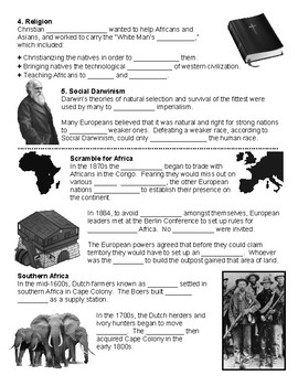 W27.1 - Imperialists Divide Africa - Guided Notes (Blank & Filled-In)