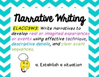 W.3.3  Narrative Writing Standard Poster (Common Core Aligned)