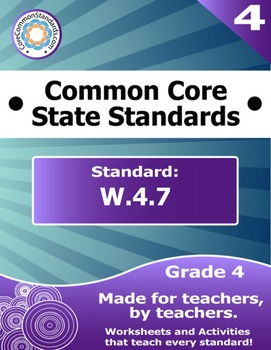 W.4.7 Fourth Grade Common Core Bundle - Worksheet, Activity, Poster, Assessment