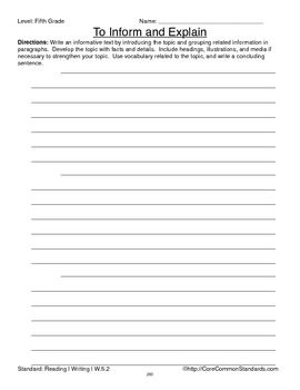 W.5.2 Fifth Grade Common Core Worksheets, Activity, and Poster