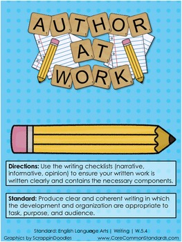 W.5.4 Fifth Grade Common Core Worksheets, Activity, and Poster