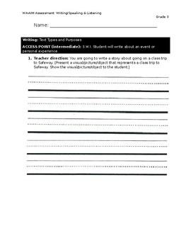 WA-AIM Writing/Speaking & Listening Assessment [Grade 3]