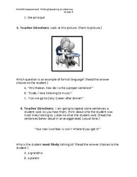 WA-AIM Writing/Speaking & Listening Assessment [Grade 4]