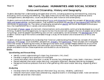 WA CURRICULUM HASS PLANNING DOCUMENT Yr 4
