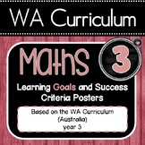WA MATHS YEAR 3 Learning GOALS Posters &  Success Criteria EDITABLE