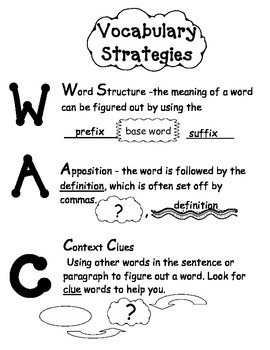 WAC (Word Structure, Apposition, Context Clues) Vocabulary Anchor Charts