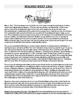WAGONS WEST 1841 Article and Assignment