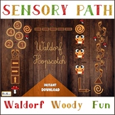 WALDORF Sensory floor path set, PRINTABLE WOOD Hopscotch,