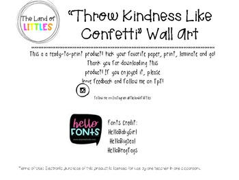 WALL ART: Throw Kindness Like Confetti