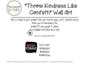 Classroom Quote: Throw Kindness Like Confetti