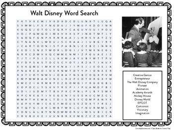 Walt Disney Worksheet | Walt Disney Word Search