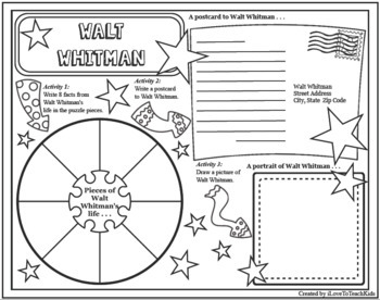 WALT WHITMAN Timeline Poster Acrostic Poem Differentiated Activities