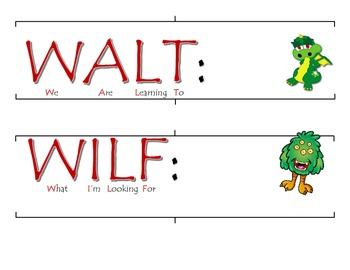 WALT WILF and TIB objectives posters and board banners
