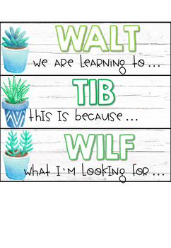 WALT, WILF and TIB posters PLUS Learning Intentions and Success Criteria