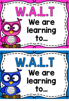 WALT (We Are Learning To) Learning Intention Posters - Owls