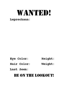 WANTED! Leprechaun Activity