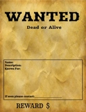 WANTED Poster Template Printable, Fillable or GOOGLE Class