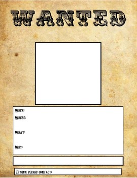 photograph relating to Wanted Poster Printable known as Wished-for Poster Template Printable, Fillable or GOOGLE Clroom template