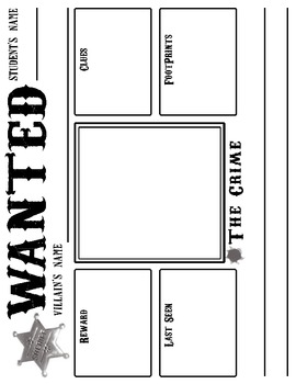 WANTED Posters (Western/Cowboy Theme) Story Writing Antagonist