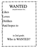 WANTED beginning of the year writing cover page