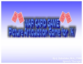 WAR CARD GAME Picture Articulation Card Game for /K/- Spee