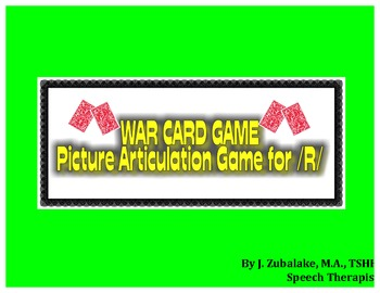 WAR CARD GAME Picture Articulation Card Game for /R/- Spee