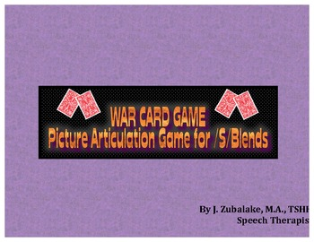 WAR CARD GAME Picture Articulation Card Game for /S/ Blend