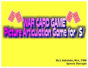 WAR CARD GAME Picture Articulation Card Game for /S/- Spee