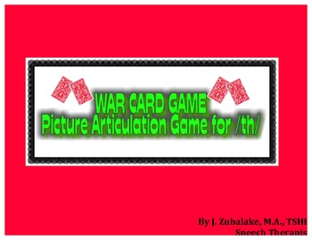 WAR CARD GAME Picture Articulation Card Game for /th/- Speech Therapy
