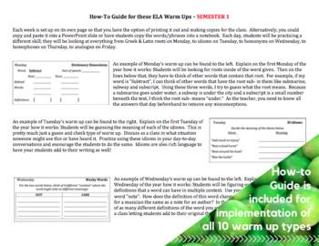 WARM UPS - 5th Grade Language Arts (Year Long)