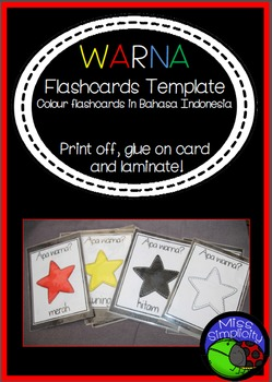WARNA colour flashcards TEMPLATE in BAHASA INDONESIA indonesian