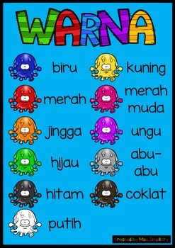 WARNA colour slime ball poster BAHASA INDONESIA indonesian