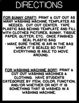 WASHING MACHINE SORT & BUNNY CRAFT ACTIVITY