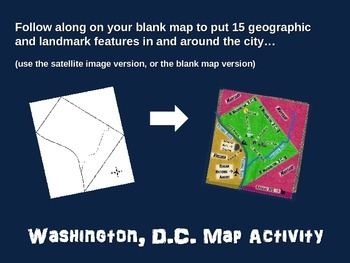 WASHINGTON, D.C. Map Activity- fun, engaging, follow-along 18-slide PPT