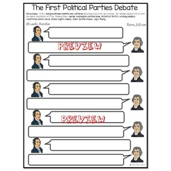 WASHINGTON'S PRESIDENCY BUNDLE The First Political Parties