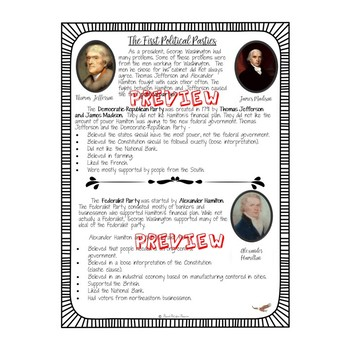 WASHINGTON'S PRESIDENCY ELL VERSION The First Political Parties