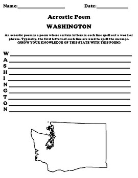 WASHINGTON STATE Acrostic Poem Worksheet