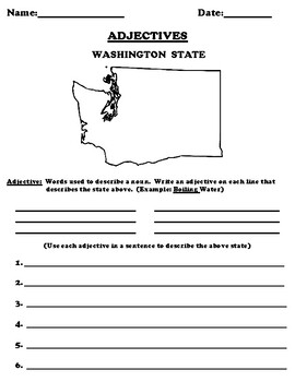 WASHINGTON STATE Adjectives Worksheet with Word Search