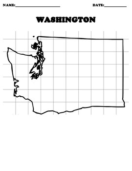 WASHINGTON STATE Coordinate Grid Map Blank