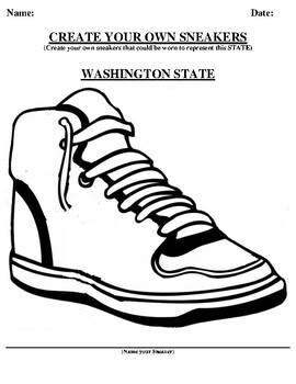 WASHINGTON STATE Design your own sneaker and writing worksheet