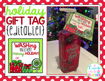 WASHing You a Merry Holiday {Editable!} Gift Tag