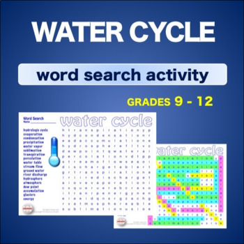 WATER CYCLE - Hydrologic Cycle * WordSearch * Vocabulary* Warm Up * Bell Ringer