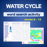 WATER CYCLE - Hydrologic Cycle * WordSearch * Vocabulary*