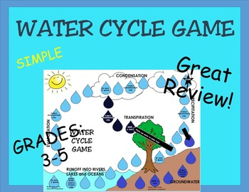WATER CYCLE REVIEW BOARD GAME- great, simple and fun review; center activity