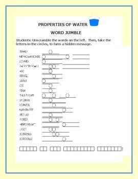 WATER: PROPERTIES: A SCIENCE WORD JUMBLE