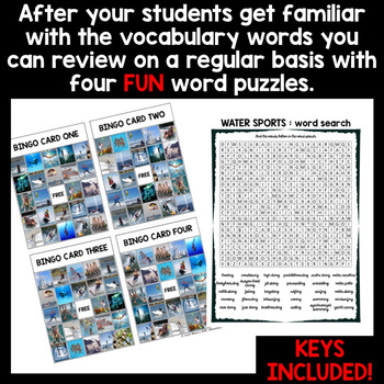 WATER SPORTS Vocabulary Words: Flash Cards and Word Puzzles